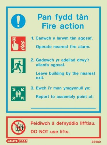 (5548DR) Jalite Welsh Fire Action Notice Sign Pan fydd tan